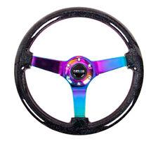 NRG Black Sparkled Wood Grain Deep Dish Steering Wheel 350mm w/3 Neochrome spoke