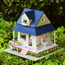 Music Dollhouse Mini DIY Villa Wooden Doll House Bicycle Light Furniture Gifts