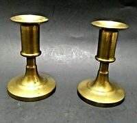 "*OLD* PETITE PAIR VINTAGE BRASS TAPER CANDLE HOLDERS 3.5""T DECADES OLD PATINA!"