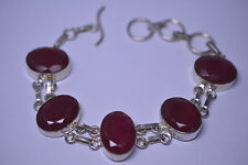 SILVERPLATED HUGE GENUINE RUBY BRACELET 70 CARATS! 7.5 to 9 INCHES LONG TOGGLE