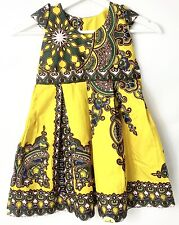 Vintage African Print Princess Dress For Girls Wax Cotton Yellow Size 3 To 4