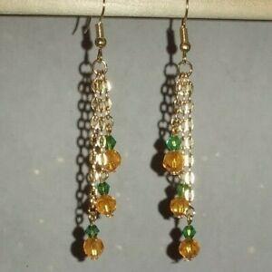 Handmade 3 Tier Chain Pumpkin/Fall Gold Plated Fishhook Earrings #H20
