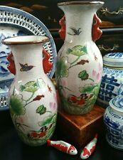 Stunning Right Left Pair Chinoiserie Porcelain Mandarin Duck Bug Crackle Vases