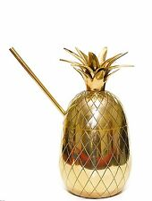 20oz Brass Pineapple Mug, Pineapple Cocktail Mug with Straw