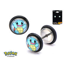 Officially Licensed Pokemon Steel 18g Faux Plug Earrings Squirtle Fronts *NEW*