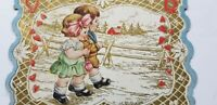 Vtg VALENTINES CARDS Die Cut CUTE BOY & GIRL COUPLE Loyal Knight ROSE Whitney A1