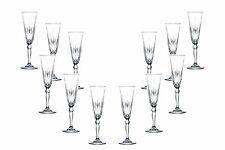 Melodia Champagne Stemmed Glasses 5.5 Oz, Crystal Cut Glassware Set of (12)
