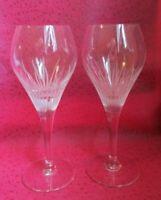 Pair of BELFOR CRYSTAL Engraved Fire FLAMES CUT Savannah WINE Glass GOBLETS!