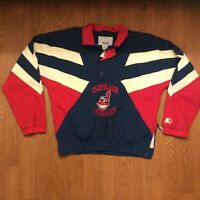 Vtg Cleveland Indians Starter Pullover Jacket Chief Wahoo Logo Size Large