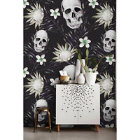 Skulls With Flowers Modern Floral Composition Non-woven wallpaper wall mural