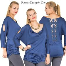 New Ladies Open Sleeved Blue Top With Lace Back Plus Size 16/2XL (9735)JX