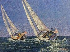 """Paul Thomas """"Scarlet"""",Original Oil Painting on Canvas,48"""" x 36"""",signed, nautical"""