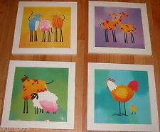 SET OF 4 IKEA KIDS ROOM WALL ART ANIMAL PICTURES