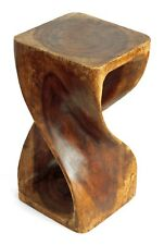 """Wooden Infinity Twist side table stool lamp plant speaker stand. Waxed 16""""x9""""x9"""""""