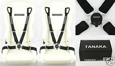 2 TANAKA BLACK 4 POINT CAMLOCK QUICK RELEASE RACING SEAT BELT HARNESS FIT FORD -
