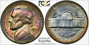 1955 JEFFERSON NICKEL 5 CENTS PCGS MS63 STUNNING RAINBOW COLOR TONING! WOW