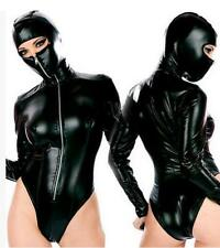 Black Romper bodysuit with mask No2 catsuit clubwear, PVC wet look Size M