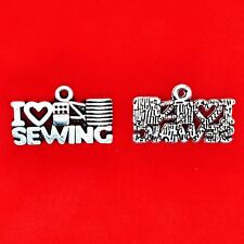 10 x Tibetan Silver I Love Sewing Cord and Machine Charms Pendants Beads
