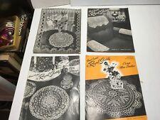 VTG LOT 4 Royal Society Books Hand Crochet Pattern Lace Doilies Handkerchiefs