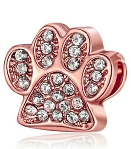 Rose Gold Animal Paw Print Crystal Clear CZ European Spacer Charm Bead!!