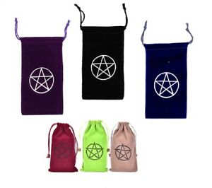Velvet Tarot Card Bags Storage Oracle Gypsy Divination Pentagram Purple Red