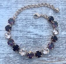 Crystal Bracelet Rose Gold Plate Made With Swarovski Elements Purple Burgundy