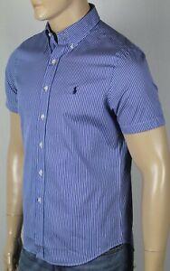 Ralph Lauren Blue Striped Classic Short Sleeve Dress Shirt Navy Pony NWT