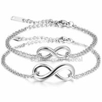 2pcs Armband Infinity Damen Verstellbar Fußkettchen Edelstahl Armreifen Fußkette