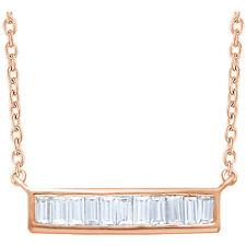 Diamante Baguette Barra 40,6 -45 , 7cm Collar en 14k oro rosa ( 1/4 Ct. TW