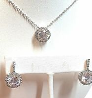"""Sterling Silver 925 GM Round CZ Chain Necklace & Earring Set - 18"""" 5.8g"""