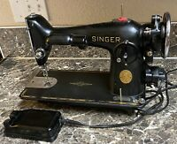 Singer 201-2 Heavy Duty Vintage Sewing Machine 1937 Foot Pedal Works Tested Used