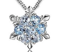 Christmas sterling silver blue crystal snowflake pendant necklace in gift box