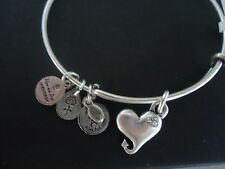 Alex and Ani CUPID'S HEART Russian Silver Charm Bangle New W/ Tag Card & Box