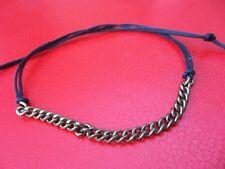 Black string tie on biker bracelet bronze chain karmastring anklet