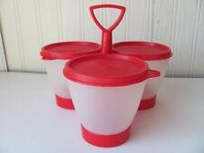 Red Vintage Tupperware Condiment Trio Caddy