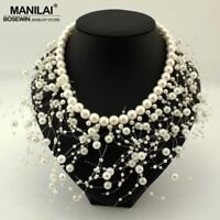Pearl Tassel Bib Statement Necklace Cluster Choker Collar Wedding Statement
