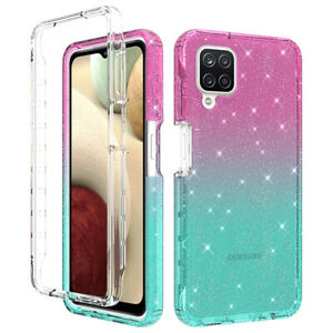For Samsung Galaxy A42 A12 M12 F12 Case Gradient Glitter Shockproof Phone Cover