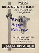 BERLIN, Werbung 1938, Pallas-Apparate Brennstoff-Filter Motor Auto Kfz LKW