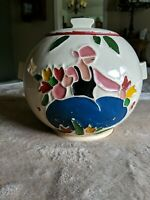 Vtg 1946 McCoy Pottery Round Lidded Cookie Jar Dutch Girl Hand Painted