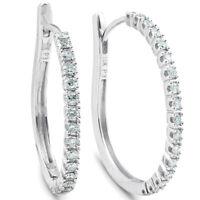 "1/2 ct Diamond Hoops 10k White Gold 1"" Tall Womens Earrings"