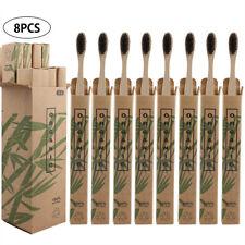 8 Pack Bamboo Toothbrush Biodegradable Natural Wooden Eco Medium Waved Bristles^