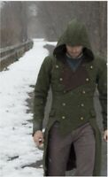 Men Autumn Winter Steampunk Long Coat Fashion Low High Jacket Cool Gothic Hooded