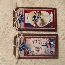 5 Wooden Americana HangTags/Ornaments/Patrio tic BowlFillers Handcrafted Set07