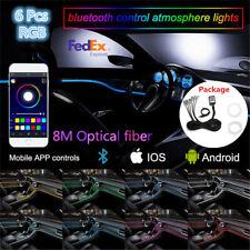 8M 6in1 RGB LED Neon EL Fiber Optical  Atmosphere Light Strip Bluetooth Control