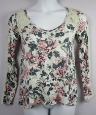 Abercrombie & Fitch Women's Top Floral Print with Lace Detail Long Sleeve XS