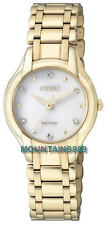 CITIZEN Eco-Drive Watch, 6 Diamonds,Stainless Stee,GoldTone,WR,Ladies,EM0282-56A