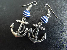 Anchor Blue and White Stripe Earrings Nautical Seaside Sailor Pin Up Rockabilly