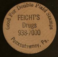 Feicht's Drug Store Punxsutawney Pennsylvania PA Wooden Nickel Token Coin