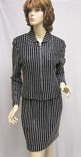 St John Knit EVENING Black White Paillettes Jacket Skirt Suit SZ 6