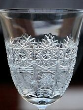 LARGE VINTAGE BOHEMIAN CRYSTAL QUEEN LACE WINE GLASS /GLASSES -15.7 X 5.8 CM